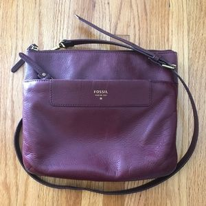 Fossil Burgundy Genuine Leather Crossbody Purse